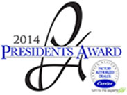 2014 Presidents Award - Carrier Certified Factory Authorized Dealer